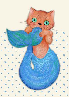 Merkitten Life Lesson - You are NOT your food Art Print by micklyn Fantasy Mermaids, Real Mermaids, Mermaids And Mermen, Amazing Paintings, Amazing Art, Mermaid Cat, Mermaid Pictures, Mermaid Drawings, Merfolk