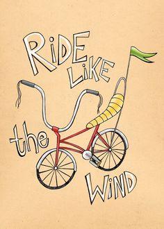 5x7 Ride Like The Wind from pigdogonline etsy shop