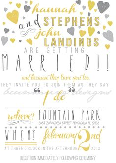 Yellow & Gray Wedding Invitation and Save The by bcummingdesigns, $50.00