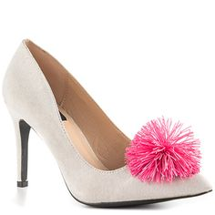 Unleash your inner Tinker Bell with this super cute Swoosh shoe. The pink rubber ball adds a playful touch to this classy gray pump. Designed by LFL. Also available in black!