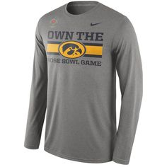 a1a9379c214 Iowa Hawkeyes Nike 2016 Rose Bowl Bound Own It Long Sleeve T-Shirt -  Heather Gray