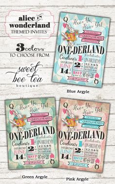 Boys Girls Alice in Wonderland First Birthday Invitation - Onederland Printable Invite - Tea Party - White Rabbit Queen of Hearts Mad Hatter by SweetBeeTeaBoutique on Etsy https://www.etsy.com/listing/229572781/boys-girls-alice-in-wonderland-first