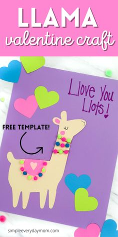 If you need a fun and simple Valentine craft for kids to make, this llama paper craft is perfect! Download the free printable template and make it this February! Valentine Crafts For Kids, Valentine Day Cards, Valentines Diy, Valentine Wreath, Holiday Crafts, Kids Crafts, Crafts For Kids To Make, Color Crafts, Purple Crafts