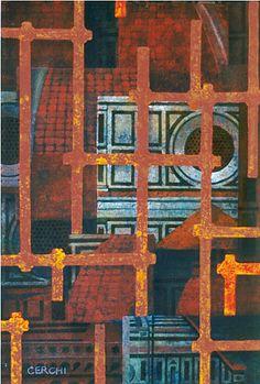 """Galleria scorrevole.                                                                                                                  Sergio  Cerchi, italian painter (Firenze) Cathedral, gouache""""."""