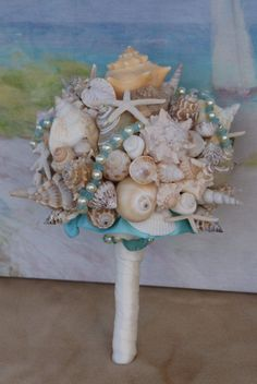 Large Heart of the Ocean Seashell Bouquet for Beach, Seaside, Destination, Cruise, Summer Wedding Cruise Wedding, Seaside Wedding, Nautical Wedding, Summer Wedding, Our Wedding, Dream Wedding, Wedding Ideas, Seashell Bouquet, Bride Bouquets