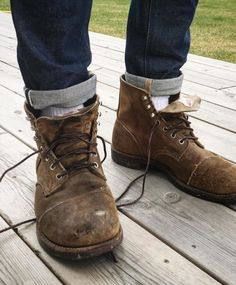 ✸This Old Stomping Ground✸: Photo Denim Boots, Jeans And Boots, Leather Boots, Older Mens Fashion, Mens Boots Fashion, Red Wing 8113, Red Wing Iron Ranger, Red Wing Boots, Shoe Company
