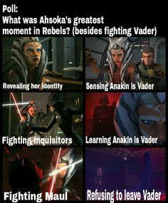 Ahsoka, just Ahsoka the entire time. Vader and her are the only reason I even watched this show.
