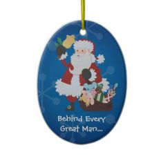 Funny Mr & Mrs Santa Christmas Ornaments - MRS. Claus is on the other side