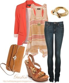 orange jacket, created by stacy-gustin on Polyvore