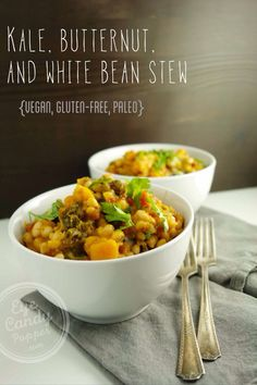 Meatless Monday: Kale butternut squash and white bean stew recipe (vegan gluten-. Meatless Monday: Kale butternut squash and white bean stew recipe (vegan gluten-free paleo) A delic Tasty Vegetarian Recipes, Clean Recipes, Easy Healthy Recipes, Veggie Recipes, Whole Food Recipes, Soup Recipes, Cooking Recipes, Dinner Recipes, Vegan Vegetarian