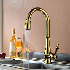 Traditional Pull-out/­Pull-down Deck Mounted Pullout Spray Ceramic Valve One Hole Single Handle One Hole Ti-PVD, Kitchen faucet 2018 - $119.69