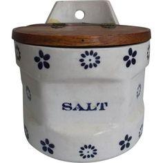 Old Stoneware Salt Box Cobalt Blue Flowers Cream Background