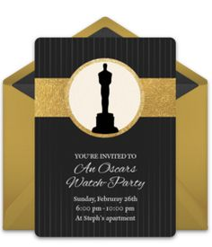 "Gotta love this free invitation design called ""Statue Silhouette."" It's perfect for a Hollywood Party or an Oscars watch-party."