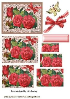 BEAUTIFUL RED ROSES ON VINTAGE LACE PYRAMIDS on Craftsuprint - Add To Basket!