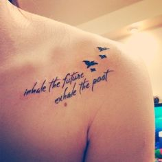 I like the font and birds.    Maybe on a back  shoulder