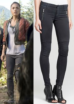 "Raven Reyes (Lindsey Morgan) wears a Hudson Stark Moto Skinny Jean in the color Hacienda in The 100 Season 2 Episode 6 ""Fog of War."" #raven #the100 #cw"