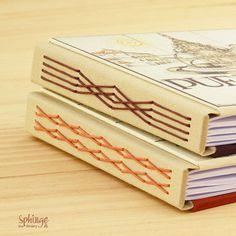 Longstitch binding on hard cover notebook / Puntada larga sobre cuaderno de tapa dura