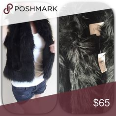 """Ann Taylor Loft BRAND NEW black faux fur vest Ann Taylor Loft BRAND NEW black faux fur vest    Two different textures back and sides feel like a short hair mink and all trim is a longer fur style. Fully lined soft and cozy   Open styling and in excellent condition never worn also has front pockets. Measures 24"""" long 19"""" across bust in closed position. 1016-891 Ann Taylor Jackets & Coats Vests"""