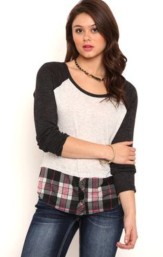 Deb Shops Long Sleeve Raglan Top with Plaid Layer $10.50