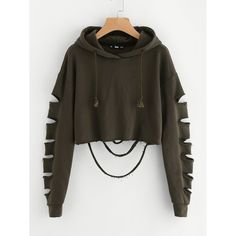 Cheap plain sweatshirt, Buy Quality cropped hoodie directly from China sweatshirt sweatshirt Suppliers: ROMWE Drop Shoulder Hollow Out Sleeve Crop Hoodie 2017 Green Long Sleeve Casual Top Seam Drawstring Plain Sweatshirt Girls Fashion Clothes, Teen Fashion Outfits, Outfits For Teens, Girl Outfits, Womens Fashion, Fashion Ideas, Fast Fashion, Latest Fashion For Women, Fashion Styles