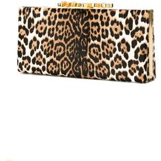 Jimmy Choo 'Celestel' clutch ($1,795) ❤ liked on Polyvore featuring bags, handbags, clutches, leopard print purse, clasp handbag, pattern purse, white handbags and jimmy choo