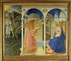 This video is part of Art For Advent Posted for the first Sunday in Advent, this examines Fra Angelico's The Annunciation. Fra Angelico's alt. Fra Angelico, Renaissance Kunst, Italian Renaissance, The Annunciation Painting, Archangel Gabriel, Les Religions, Immaculate Conception, Canvas Prints, Art Prints