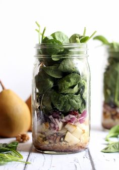 Pear, Quinoa, and Spinach Salad in a Jar