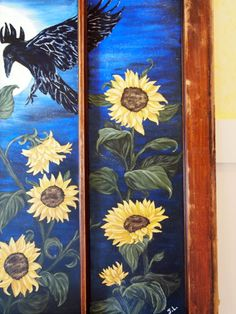 Old window titled- Ravens Sunflower Delight by the Pale Moonlight. See more of my work at https://www.facebook.com/MyArtsyFartsySelf
