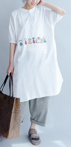 new joyful life striped summer dresses oversize cotton sundress short sleeve shirt dress