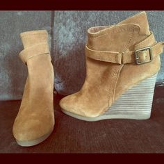 Urban Outfitters wedges Urban Outfitters tan suede material wedges in good shape, worn twice. I love these but I just can't fit them anymore. Urban Outfitters Shoes Heeled Boots