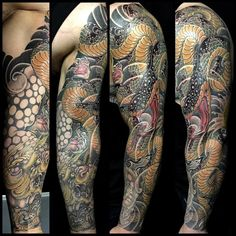 Completed the #蛇 #snake and #獅子 #foodog arm sleeve. Had so much fun with this. We start the other arm sleeve soon… Thanks Pat as always! #tattoo #tattoos #sleevetattoo #irezumi #刺青 #thegrevilleinn...