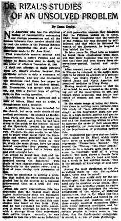 """Dooly, Isma. """"Dr. Rizal's Studies of an Unsolved Problem"""". Atlanta Constitution, 28 July 1902, page 3 #kasaysayan"""