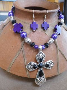 Chunky western black stone and silver cross with by WBrandDesigns, $20.00