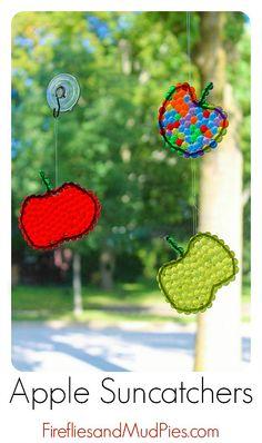 Beaded Apple Suncatchers - Fireflies and Mud Pies