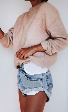 sweatshirt + denim shorts #style #casual