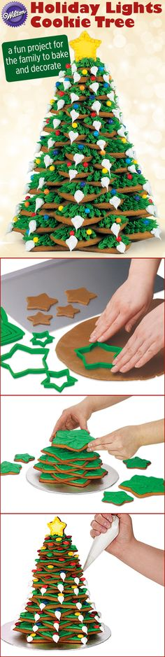 Holiday Lights Cookie Tree is a fun project for the family to bake and decorate. Wilton Christmas Cookie Tree Kit includes the cookie cutters you'll need. Grandma's Gingerbread recipe provides a sturdy cookie perfect for layering.