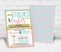 Staches or Lashes Gender Reveal Invitation, Staches or Lashes Invitations, Lash or Stache Gender Reveal Invitations Lashes or Staches Invite Personalized Invitations, Printable Invitations, Party Printables, Invitation Design, Quick Print, Gender Reveal Party Invitations, Invite Your Friends, Reveal Parties