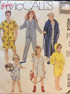 New Sewing Pattern McCalls 4640 Pajamas Robe Nightgown Size 6-7 Easy Boys  Girls  a115debe5