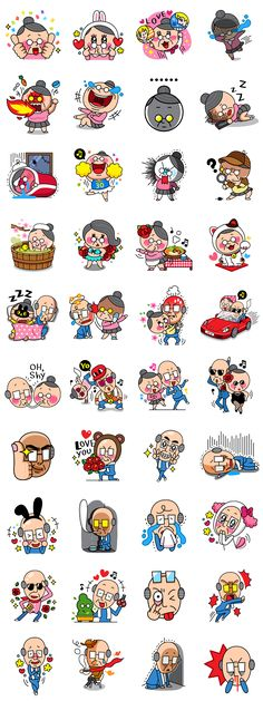 """True love never fades."" This fun and energetic couple will remind you that age really is just a number. Mobile Stickers, Emoji Stickers, Kawaii Stickers, Chibi Characters, Cute Characters, Bullet Journal Icons, Doodle Paint, Cute App, Printable Planner Stickers"