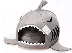 Grey Shark Bed for Small Cat Dog Cave Bed Removable Cushion,waterproof Bottom Most Lovely Pet House Gift for Pet spexpet