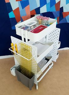 Ikea Hack: How to Create a Mobile Pegboard Storage Unit from the Raskog -. - Ikea Hack: How to create a mobile pegboard storage unit from the Raskog cart and the Skadis pegboard - Pegboard Ikea, Pegboard Craft Room, Ikea Craft Room, Sewing Room Organization, Kitchen Pegboard, Pegboard Display, Craft Rooms, Painted Pegboard, Organization Ideas