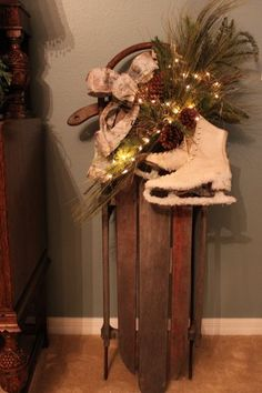 1000 ideas about snow sled on pinterest sled sleigh for Antique sled christmas decoration