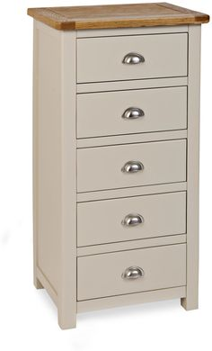 Portland painted tall Wellington chest finished in stone colour. Offered at TRADE PRICE