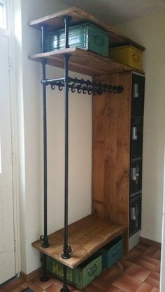 Modern entryway ideas for small spaces that will keep your home's first and last impression on-point | Mudroom Ideas with bench Industrial Closet, Industrial Coat Rack, Diy Industrial Bench, Industrial Shelving Kitchen, Rustic Industrial Bedroom, Industrial Bedroom Furniture, Industrial Lamp Shade, Plumbing Pipe Furniture, Rustic Closet