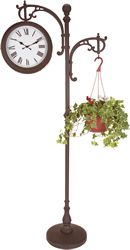 DIY Garden Decor... Old metal coat rack and screw on metal plant hangers (you can get at dollar stores or Walmart) onto the sides and hang your hanging flower baskets!