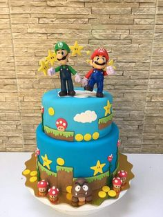 Cake Mario Birthday Cake, 6th Birthday Cakes, Harry Birthday, Super Mario Birthday, Cupcake Birthday Cake, Birthday Parties, Super Mario Bros, Super Mario Cake, Super Mario Party