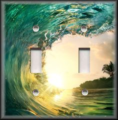 Metal Light Switch Plate Cover Surfing Wave Ocean Water Surf Beach Home Decor