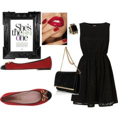 little black dress & pretty ballerinas
