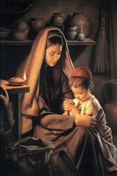 In Favour with God (Jesus Praying with His Mother), by Simon Dewey; GAB nursery manual lesson page Luke John this image is to be used for Church purposes only. Pictures Of Christ, Religious Pictures, Blessed Mother Mary, Blessed Virgin Mary, Mary And Jesus, God Jesus, Arte Lds, La Salette, Lds Art