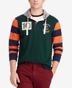 e45ebb641 Polo Ralph Lauren Men s Classic Fit Cotton Rugby Hoodie - College Green  Multi XL Cheap Clothing